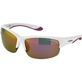 Alpina Flexxy HR Glasses Youth white matt-purple/pink mirror